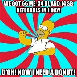 Frases Homero Simpson - We got 66 ME, 54 hL and 14 SB Referrals in 1 day! d'oh! now i need a donut!