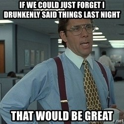 that would be great guy - If we could just forget i drunkenly said things last night That would be great