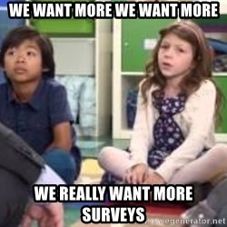 We want more we want more - we want more we want more we really want more surveys