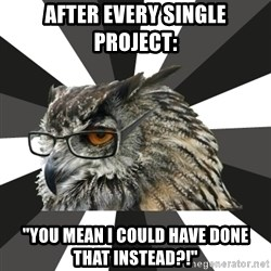 "ITCS Owl - After every single project: ""you mean i could have done that instead?!"""