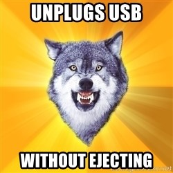 Courage Wolf - Unplugs Usb without ejecting