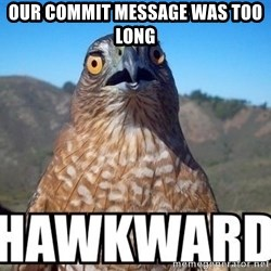 oops hawkward - Our commit message was too long