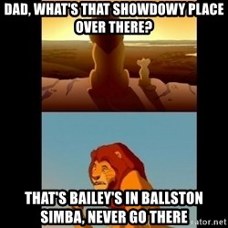 Lion King Shadowy Place - Dad, what's that showdowy place over there? That's Bailey's in Ballston simba, never go there