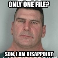 son i am disappoint - Only one file? Son, I Am Disappoint