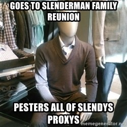 Trenderman - Goes to Slenderman family reunion  Pesters all of slendys proxys