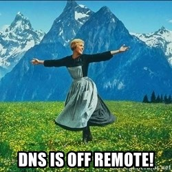 Look at all the things -  dns is off remote!