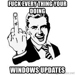 middle finger - Fuck every thing your doing windows updates