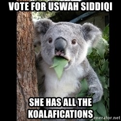 Koala can't believe it - vote for uswah siddiqi she has all the koalafications