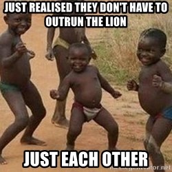 african children dancing - Just realised they don't have to outrun the lion just each other