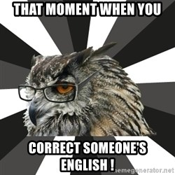 ITCS Owl - that moment when you  correct someone's english !