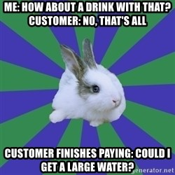 Restaurant Rabbit - me: how about a drink with that? customer: no, that's all customer finishes paying: could i get a large water?