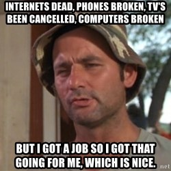 So I got that going on for me, which is nice - internets dead, phones broken, tv's been cancelled, COMPUTERS broken but I got a job so i got that going for me, which is nice.
