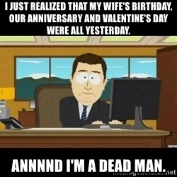 Annnnd its gone - i just realized that my wife's birthday, our anniversary and valentine's day were all yesterday. annnnd i'm a dead man.