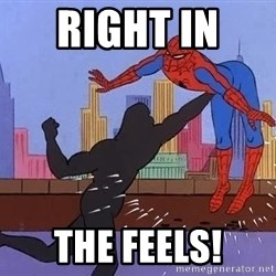 crotch punch spiderman - right in  the feels!