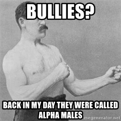 overly manly man - Bullies? Back in my day they were called alpha males