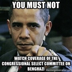 Pissed off Obama - you must not watch coverage of the congressional select committee on benghazi