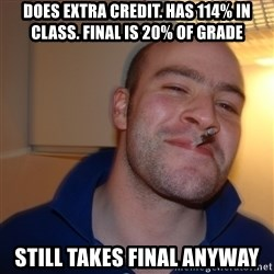 Good Guy Greg - Does Extra Credit. Has 114% in class. Final is 20% of grade Still takes final anyway