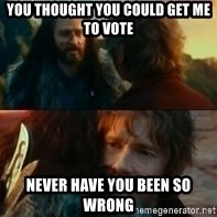 Never Have I Been So Wrong - You thought you could get me to vote Never have you been so wrong