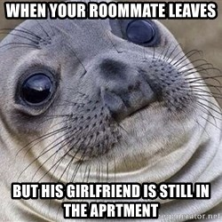 Awkward Moment Seal - When your roommate leaves But his girlfriend is still in the aprtment