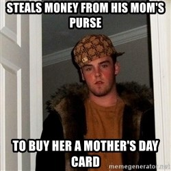 Scumbag Steve - steals money from his mom's purse to buy her a mother's day card