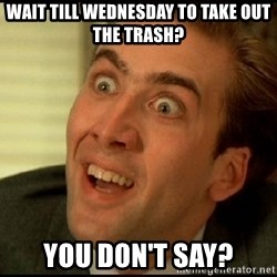 You Don't Say Nicholas Cage - Wait till wednesday to take out the trash? you don't say?