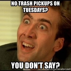 You Don't Say Nicholas Cage - no trash pickups on Tuesdays? You don't say?