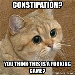 motherfucking game cat - Constipation? You think this is a fucking game?