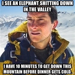 Bear Grylls Loneliness - I see an elephant shitting down in the valley i have 10 minutes to get down this mountain before dinner gets cold.