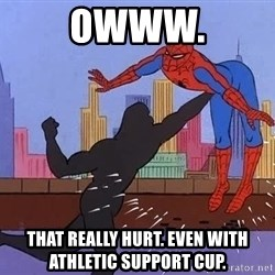 crotch punch spiderman - Owww. That really hurt. Even with athletic support cup.