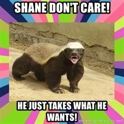 HoneyBadger - Shane don't care! He just takes what he wants!