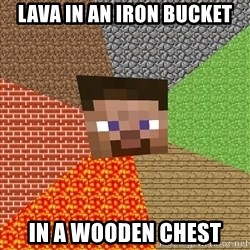 Minecraft Guy - Lava in an iron bucket In a wooden chest