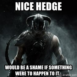 Scumbag Dovahkiin - Nice hedge WOULD BE A SHAME IF SOMETHING WERE TO HAPPEN TO IT...