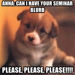 cute puppy - Anna: Can I Have your seminar blurb please, please, please!!!!