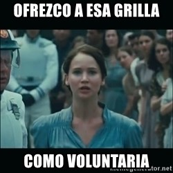 I volunteer as tribute Katniss - ofrezco a esa grilla como voluntaria