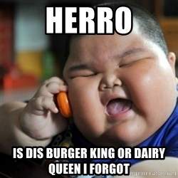fat chinese kid - herro is dis burger king or dairy queen i forgot