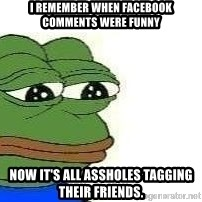 Sad Frog - I remember when facebook comments were funny now it's all assholes tagging their friends.