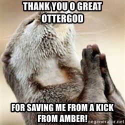 Praying Otter - Thank you o great ottergod for saving me from a kick from amber!