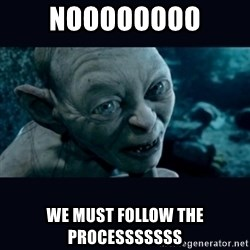gollum - noooooooo we must follow the processsssss
