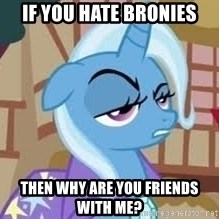 Seriously Pony - If you hate bronies then why are you friends with me?
