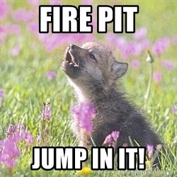 Baby Insanity Wolf - fire pit jump in it!