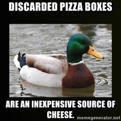 good advice duck - Discarded Pizza Boxes are an inexpensive source of cheese.