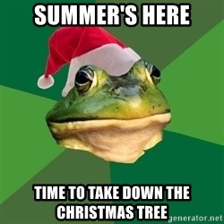 Foul Bachelor Frog - summer's here time to take down the christmas tree