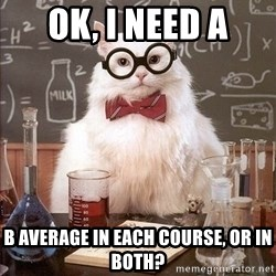 Chemistry Cat - Ok, I need a b average in each course, or in both?