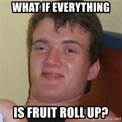 Really highguy - What if everything  Is fruit roll up?