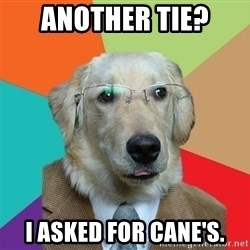 Business Dog - Another tie?  I asked for Cane's.