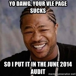 Yo Dawg - Yo Dawg, your vle page sucks so i put it in the june 2014 audit