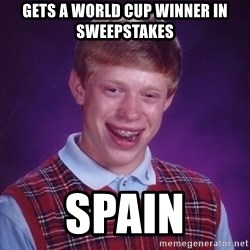 Bad Luck Brian - gets a world cup winner in sweepstakes spain