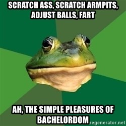 Foul Bachelor Frog - scratch ass, scratch armpits, adjust balls, fart ah, the simple pleasures of bachelordom