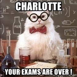 Chemist cat - Charlotte Your Exams are over !