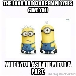 Despicable me - The look autozone employees give you When you ask them for a part.